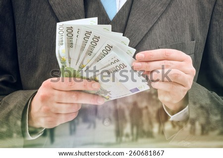 Double exposure Bank Officer Providing Service of Installment Loan in Cash, Euro Banknotes.