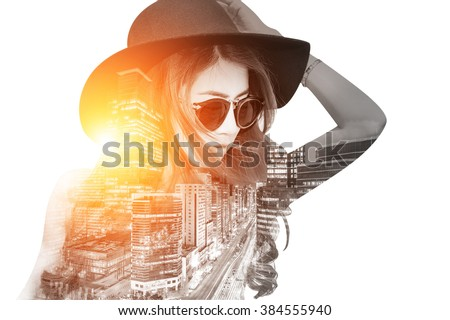 Double exposure,Beautiful girl and cityscape. Retro tone. - stock photo