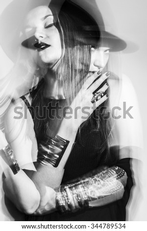 double exposure black and white portrait of woman.
