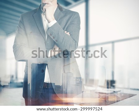 Double exposure business man in the office - stock photo