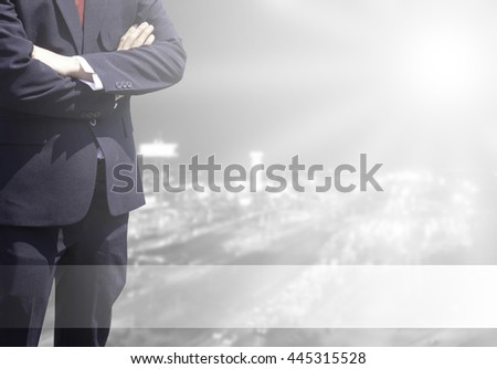 Double exposure Business man success or soft Business man success in his working or learning with global on over blurred top city view with light flare from corner and white line for advertise. - stock photo
