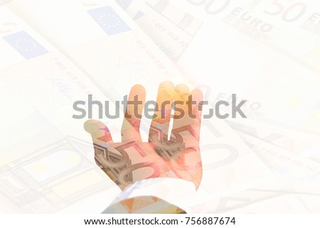 Double exposure. businessman Hand holding open hand on pile 50 Euro banknote. using as financial concept, Business concept, Business risk concept, exchange risk concept, inflation risk.