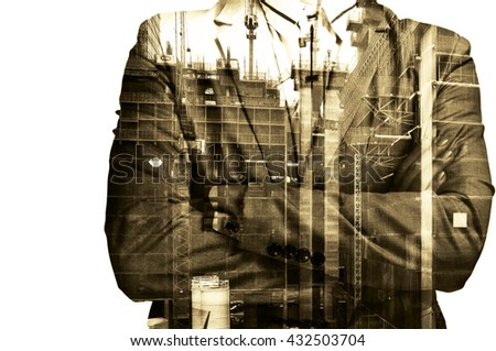 Double exposure Businessman or Civil Engineer stand with Construction site do examination, inspection, survey as Real Estate Development concept - stock photo