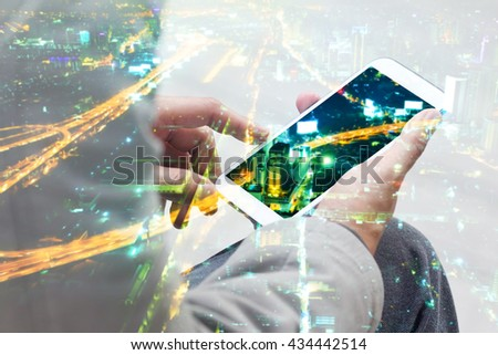 Double Exposure Businessmen Using Smart Phone. - stock photo