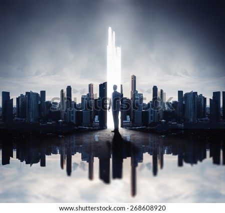 Double exposure concept with businessman and skyscrapers - stock photo