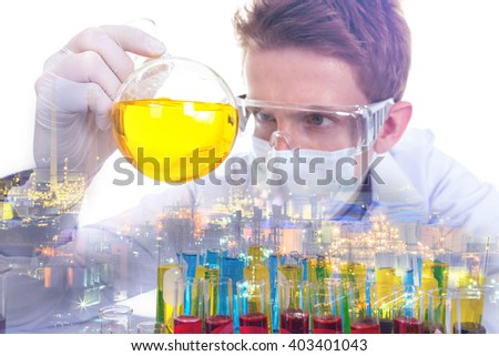 Double exposure concept with scientist with equipment and science experiments about oil refinery plant.