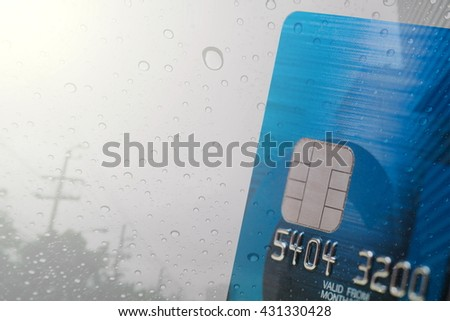 Double exposure credit card and rain with gradient filter,Credit card background. - stock photo