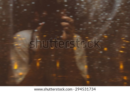 Double exposure defocused blurred photo with citi motion  - stock photo