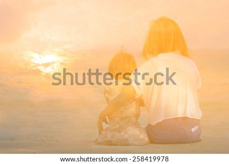 Double Exposure Effect Love Mom and Child - stock photo