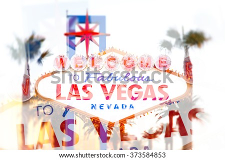 Double exposure effect of the world famous Welcome to Las Vegas sign . The Strip, Las Vegas, USA