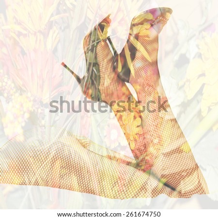 Double exposure female legs and high heels with flower background - Fashion and romance concept, unfocused - stock photo