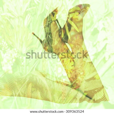 Double exposure female legs and high heels with flower background - Fashion and romance concept - stock photo