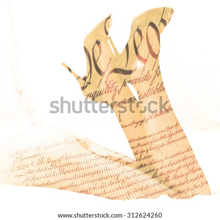 Double exposure female legs and high heels with US constitution background - Fashion in America concept - stock photo