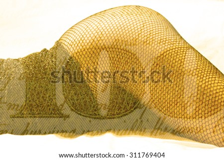Double exposure female legs in fishnet stockings with hundred dollar bill background - Fashion and love romance concept - stock photo