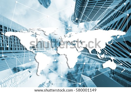Double exposure global world map on stock photo download now double exposure global world map on business financial network city background elements of this image gumiabroncs Image collections