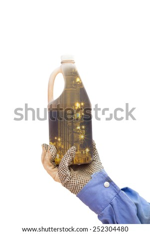 double exposure hand holding sample oil distillation process in bootle - stock photo