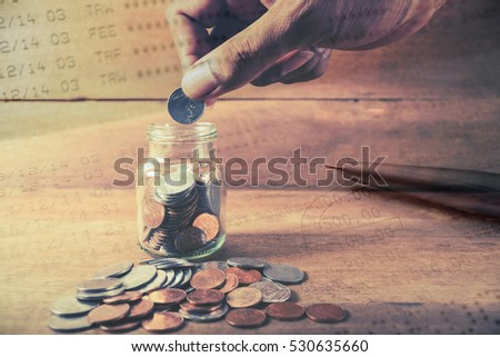 Double exposure hand with stack of coins and account banking for finance, Money and finance concept