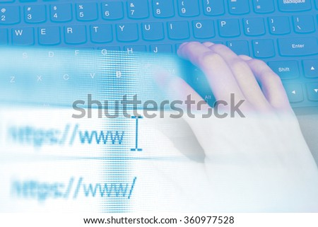 Double exposure, hands of an office woman typing. Shallow dof.
