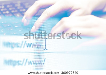 Double exposure, hands of an office woman typing. Shallow dof. - stock photo