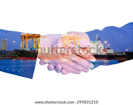 double exposure handshake businessman on sea port background - stock photo