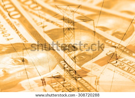 Double exposure high voltage power lines with American currency background - Expense and savings concept - stock photo