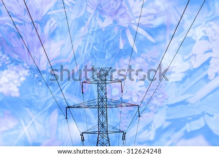 Double exposure high voltage power lines with flower background - Energy and environment safety concept - stock photo