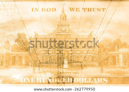 Double exposure high voltage power lines with hundred dollar bill background - Energy expense concept - stock photo