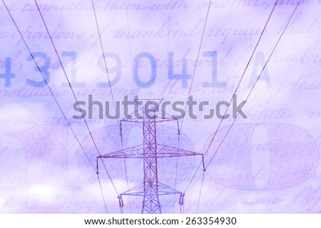 Double exposure high voltage power lines with hundred dollar bill background - Energy expense and finance concept - stock photo