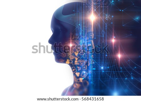 double exposure image of virtual human 3dillustration on business and learning technology  background 