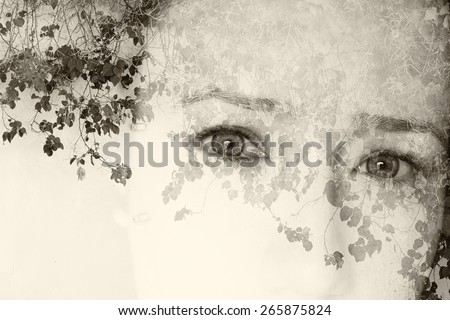 double exposure image of young girl and nature background. black and white style photo - stock photo