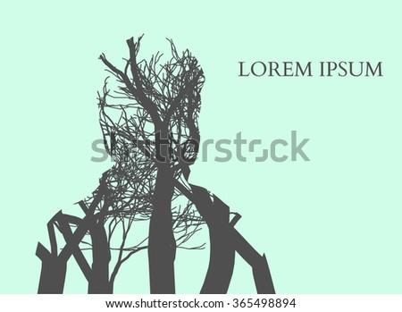 Double exposure Man Silhouette and tree. Double exposure illustration. - stock photo