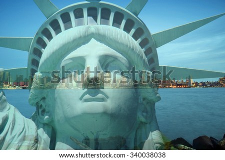 double exposure new york city cityscape skyline with statue of liberty - stock photo