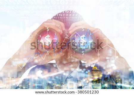 Double exposure of a businessman with binoculars. Search money concept. - stock photo