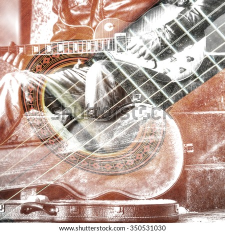 double exposure of a guitar player with an open guitar case in hdr - stock photo