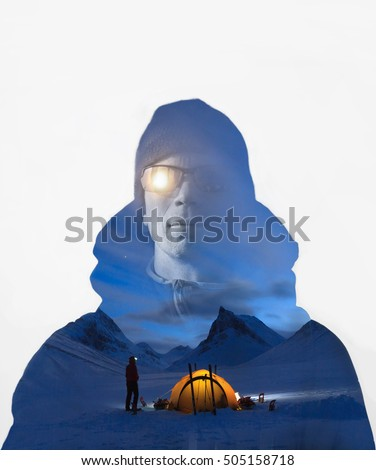 Double exposure of a hiker with backpack and an image of a winter campsite in the mountains of Lapland.