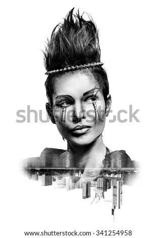 Double exposure of a woman with creative make-up and city skyscrapers isolated on white background. Toned image - stock photo