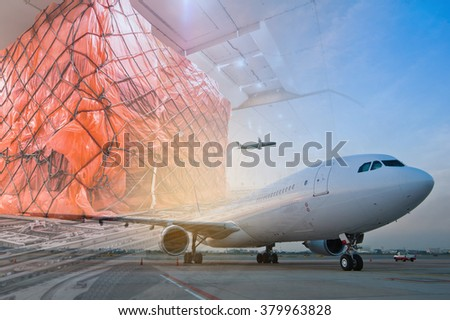 double exposure of air cargo freighter