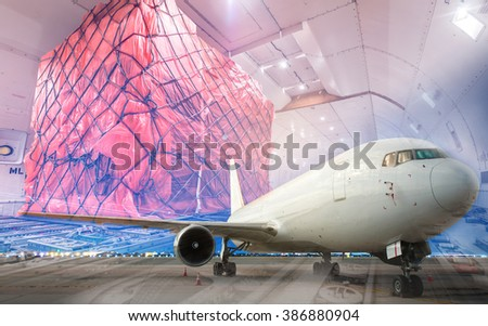 double exposure of air cargo freighter - stock photo