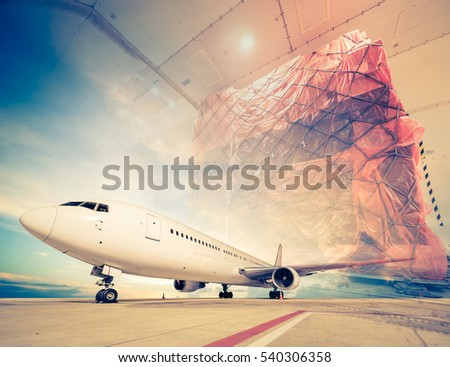 double exposure of air cargo freighter - retro vintage filter effect