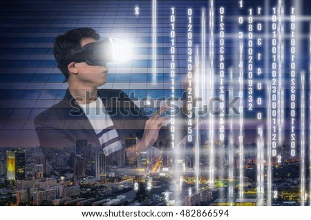 Double exposure of Asian Man wearing virtual reality Looking the digital numeric display of security or hacker on cityscape background, VR technology concept