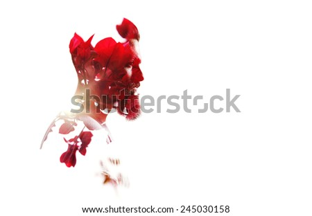 Double exposure of bearded guy and red flowers - stock photo