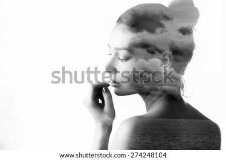 Double exposure of beautiful girl and nature landscape - stock photo