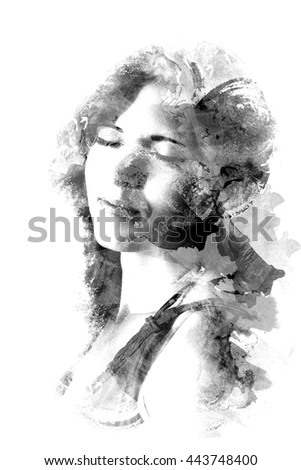 Double exposure of beautiful girl. Black and white image isolated on white background