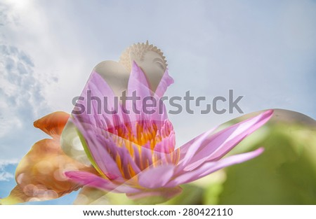 double exposure of Buddha and beautiful lotus flower . - stock photo
