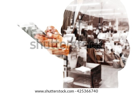 Double Exposure of Busienssman with Tablet and Blur Supermarket Cashier Counter - stock photo