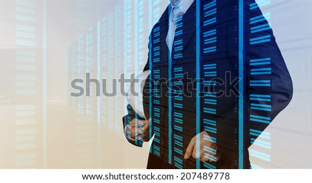 Double exposure of business engineer and abstract server as concept - stock photo