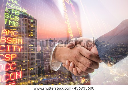 Double exposure of Business handshake ,Investment concept - stock photo
