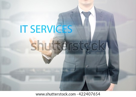 Double exposure of business man with servers technology in data center in IT services business concept - stock photo