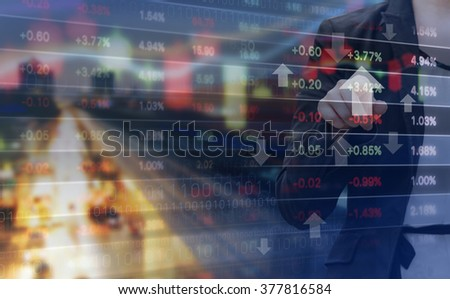 Double exposure of business woman and stock market graph - stock photo