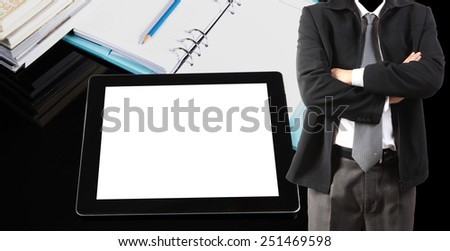 Double exposure of businessman and tablet pc on table - stock photo